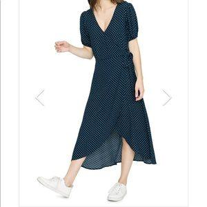 Sanctuary Polka Dot Wrap Dress with Side Zip